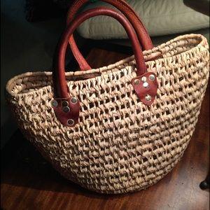 Raffia & thick Leather summer tote Bali bucket bag